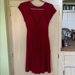 Burgundy mid length dress